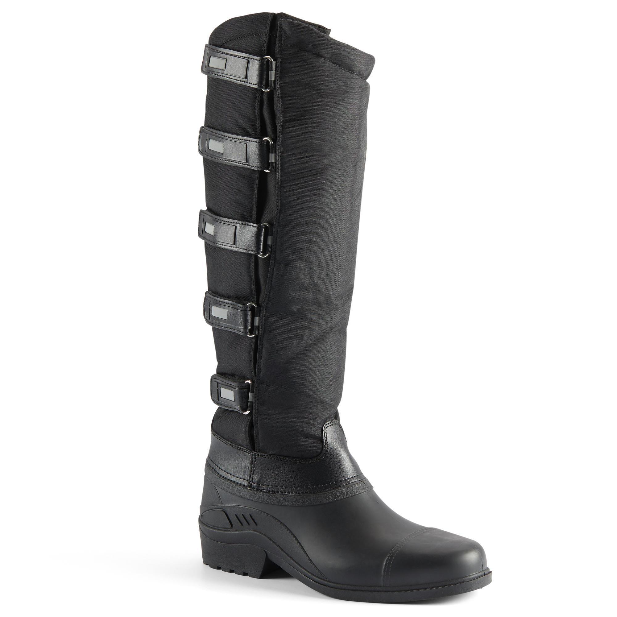 Winter-Reitstiefel mit Klettverschluss Erwachsene schwarz | Schuhe > Sportschuhe > Reitstiefel | Kerbl