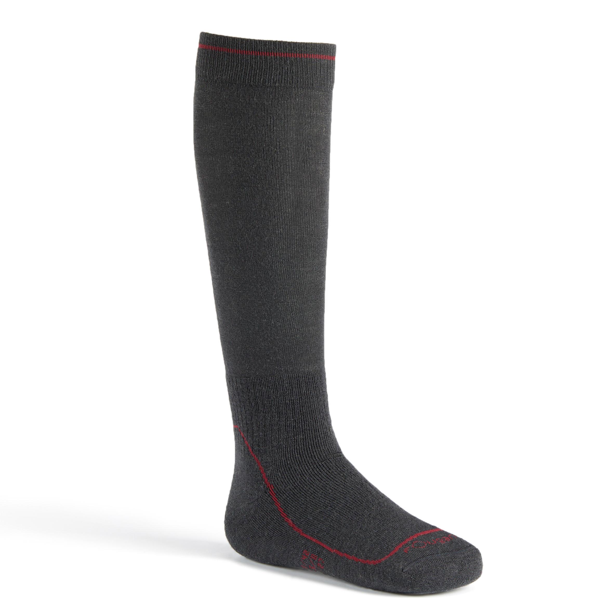 Chaussettes chaudes équitation adulte 500 CHAUDES gris foncé x1