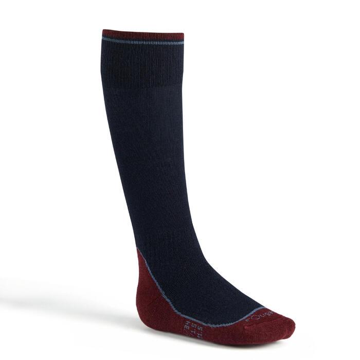 Calcetines Equitación Fouganza 500 WARM Niño/Niña azul marino/burdeos Cálido x1