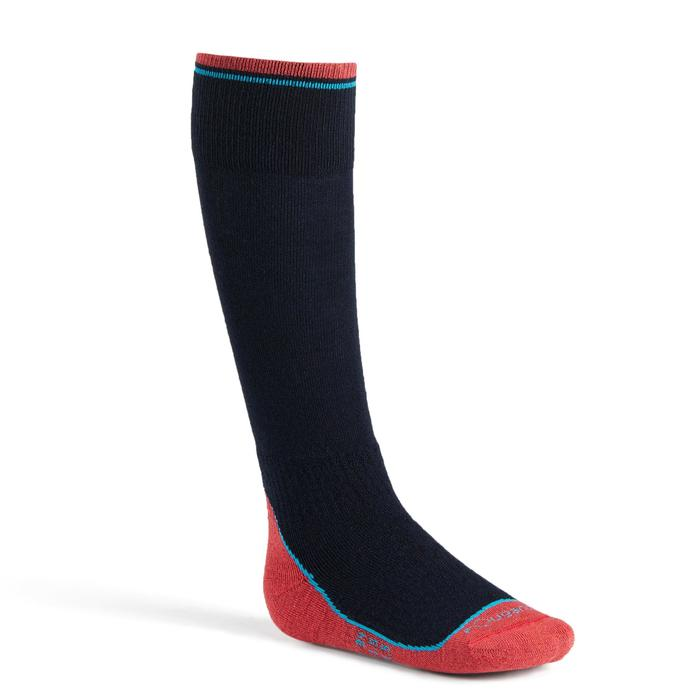 Winter-Reitsocken 500 Kinder marineblau/rosa 1 Paar