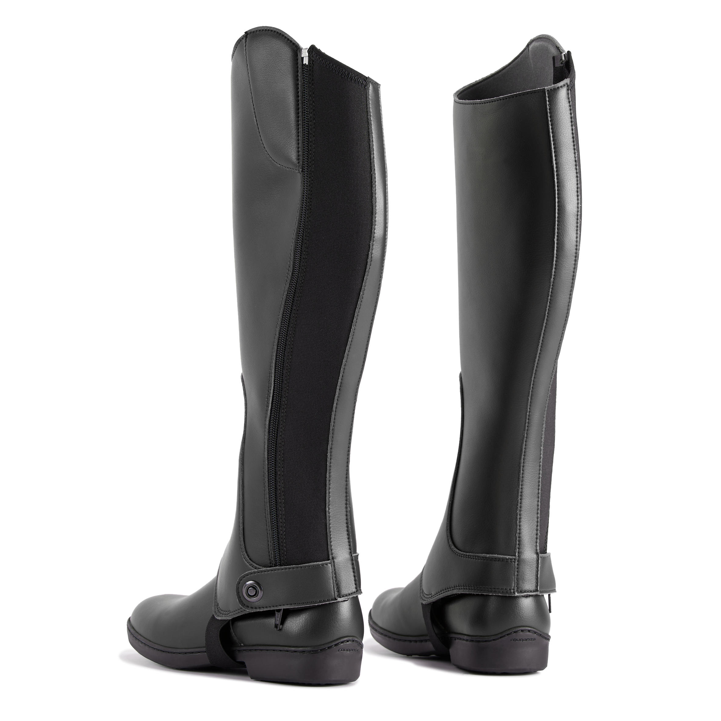 Adults//Children Horse Riding Half Chaps Black Synthetic Leather