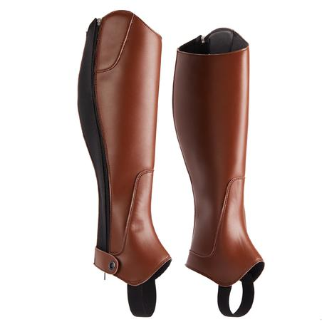 500 Adult Synthetic Horse Riding Half-Chaps - Brown
