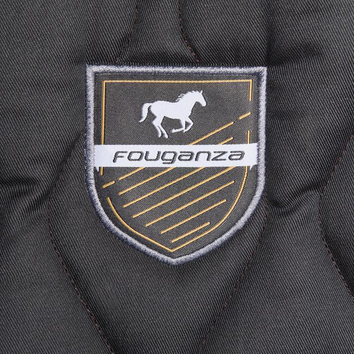 Zadeldek 500 ruitersport pony's en paarden donkergrijs / camel boord
