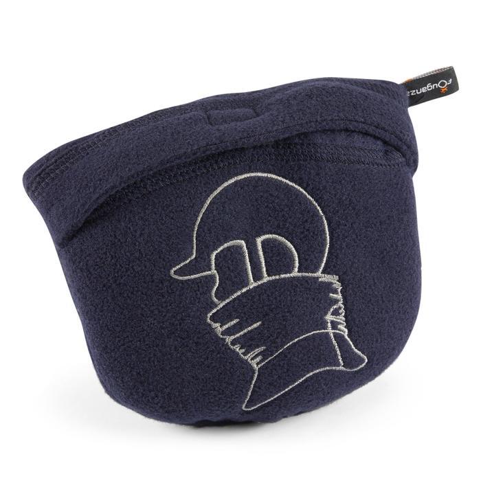 Fleece nekwarmer met borststuk voor kinderen ruitersport marineblauw