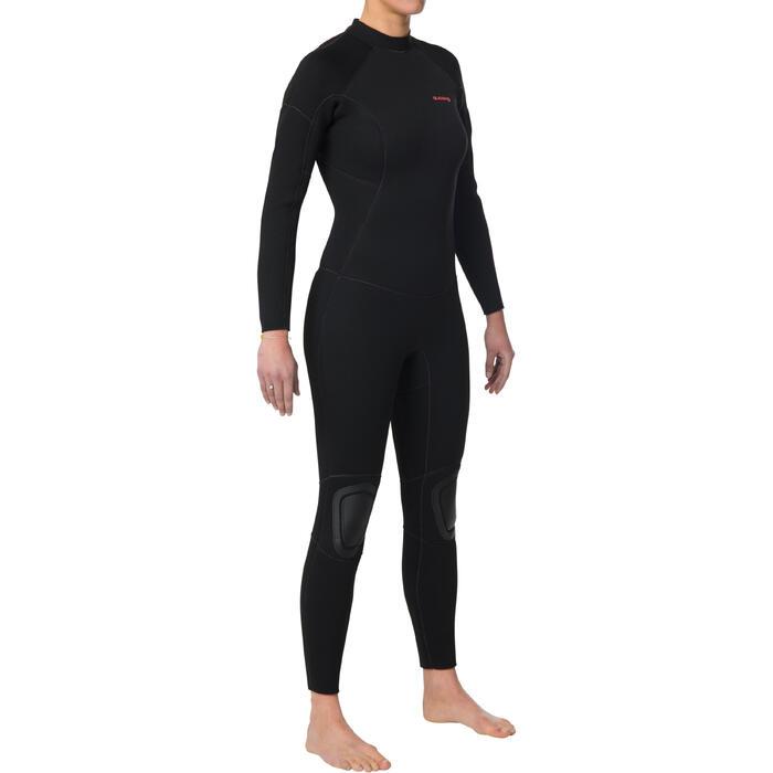 Dames wetsuit 100 neopreen 4/3 mm zwart
