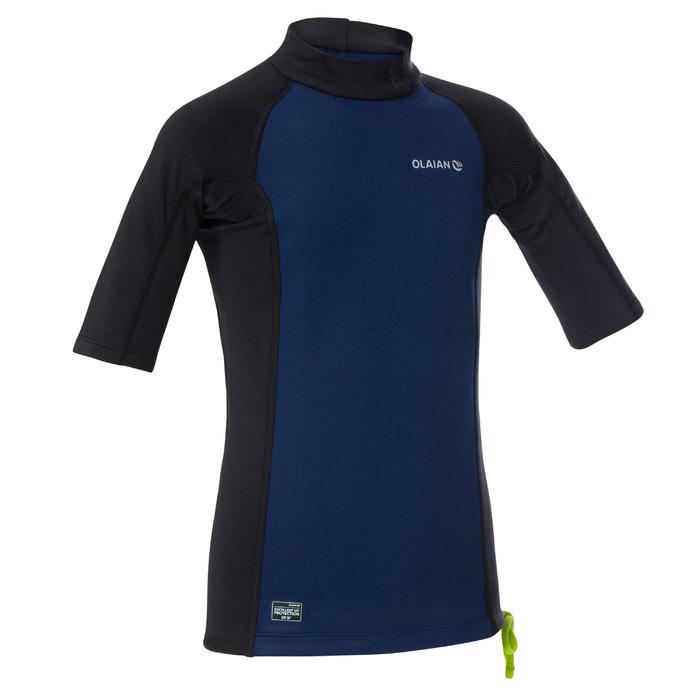 tee shirt anti UV surf top néoprène thermique manches courtes enfant bleu noir