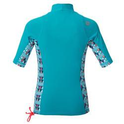 Camiseta anti-UV surf top 500 manga corta azul claro estampado