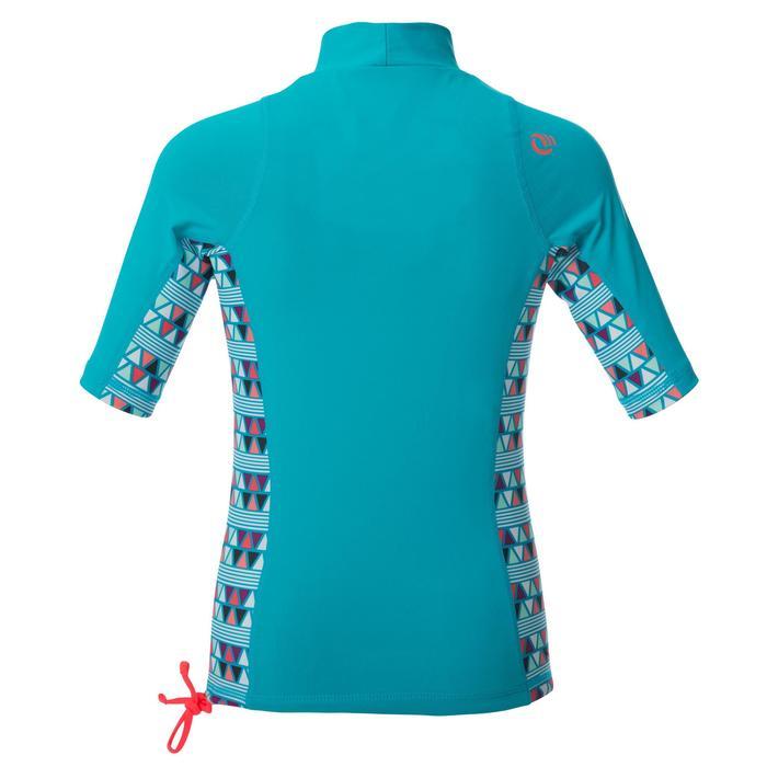 Uv-werende rashguard 500 met korte mouwen voor kinderen lichtblauw met print - 1344375
