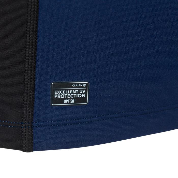 Thermische en uv-werende rashguard met korte mouwen voor kinderen blauw zwart