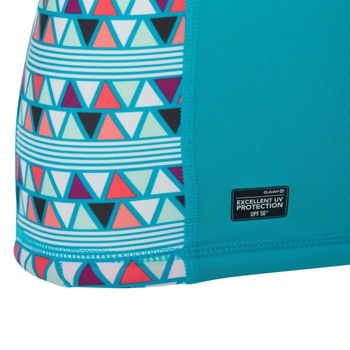 Uv-werende rashguard 500 met korte mouwen voor kinderen lichtblauw met print - 1344393