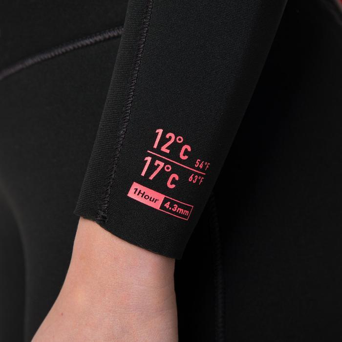 Dames wetsuit 100 neopreen 4/3 mm zwart met rits op de rug