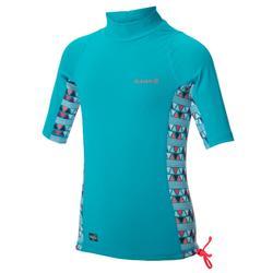 500 Child's short-sleeved UV-protection surfing top T-shirt - Light blue print