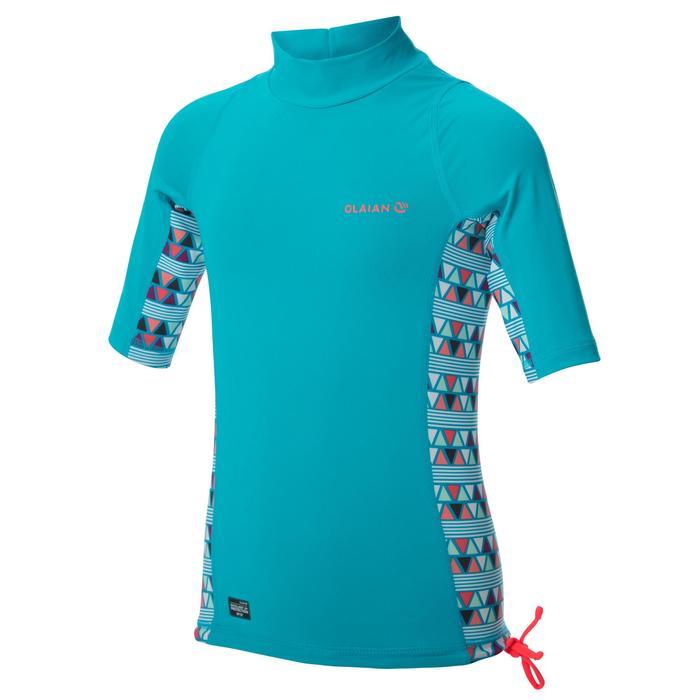 Uv-werende rashguard 500 met korte mouwen voor kinderen lichtblauw met print - 1344398