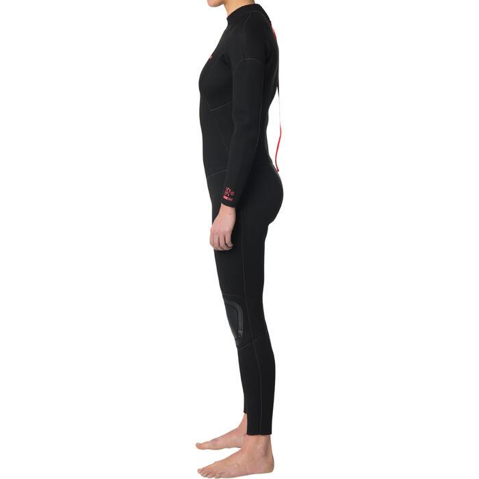 Traje SURF 100 Neopreno 4/3 mm mujer negro cremallera en la espalda
