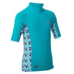 500 孩童短袖防曬衝浪上衣T恤 - 淺藍色印花