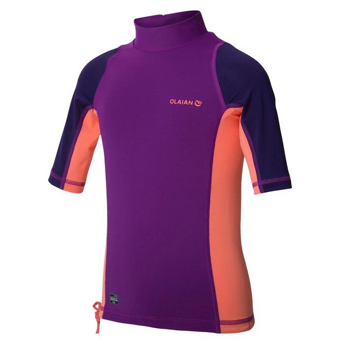 tee shirt anti uv surf top 500 manches courtes enfant violet corail