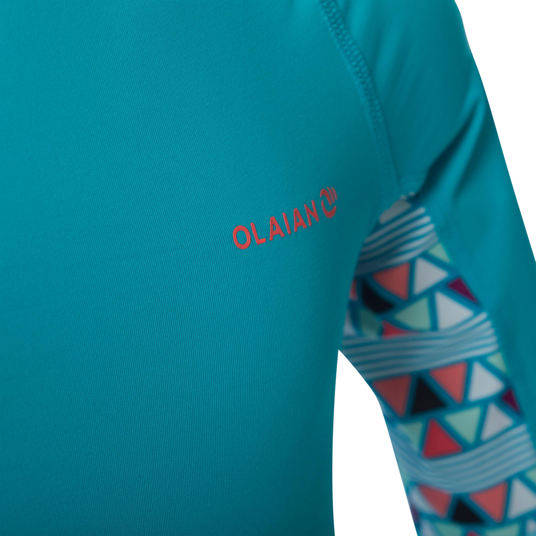 de45ca44e97f Playera de surf anti-UV top 500 manga corta azul claro estampado ...