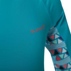 UV-Shirt kurzarm Surfen Top 500 Kinder hellblau bedruckt