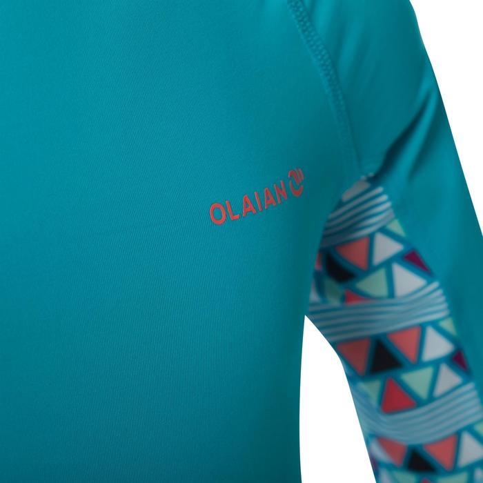 Uv-werende rashguard 500 met korte mouwen voor kinderen lichtblauw met print - 1344407