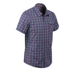 Chemise manches courtes TRAVEL 50 homme à carreaux bleu