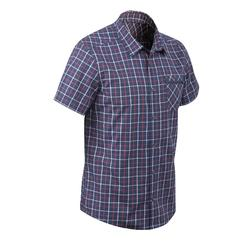 Hemd met korte mouwen Travel 40 heren geruit blauw