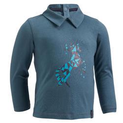 Polo met lange mouwen voor peuters ruitersport 140 grijsblauw