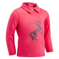 Polo met lange mouwen voor peuters ruitersport 140 roze