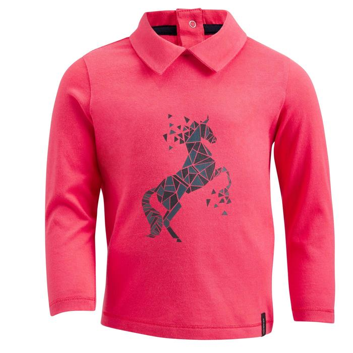 Polo manches longues équitation baby 140 rose