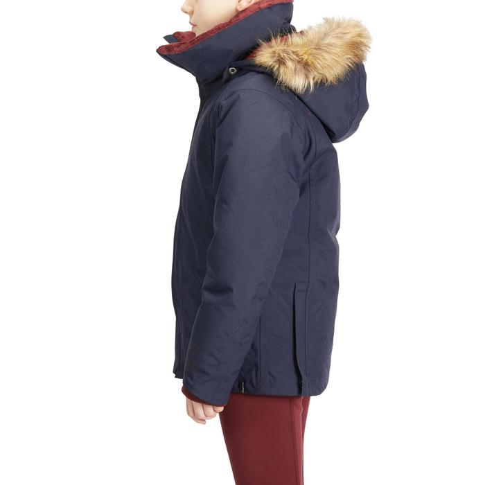 Warme en waterdichte kinderparka ruitersport 500 Warm marineblauw/bordeaux