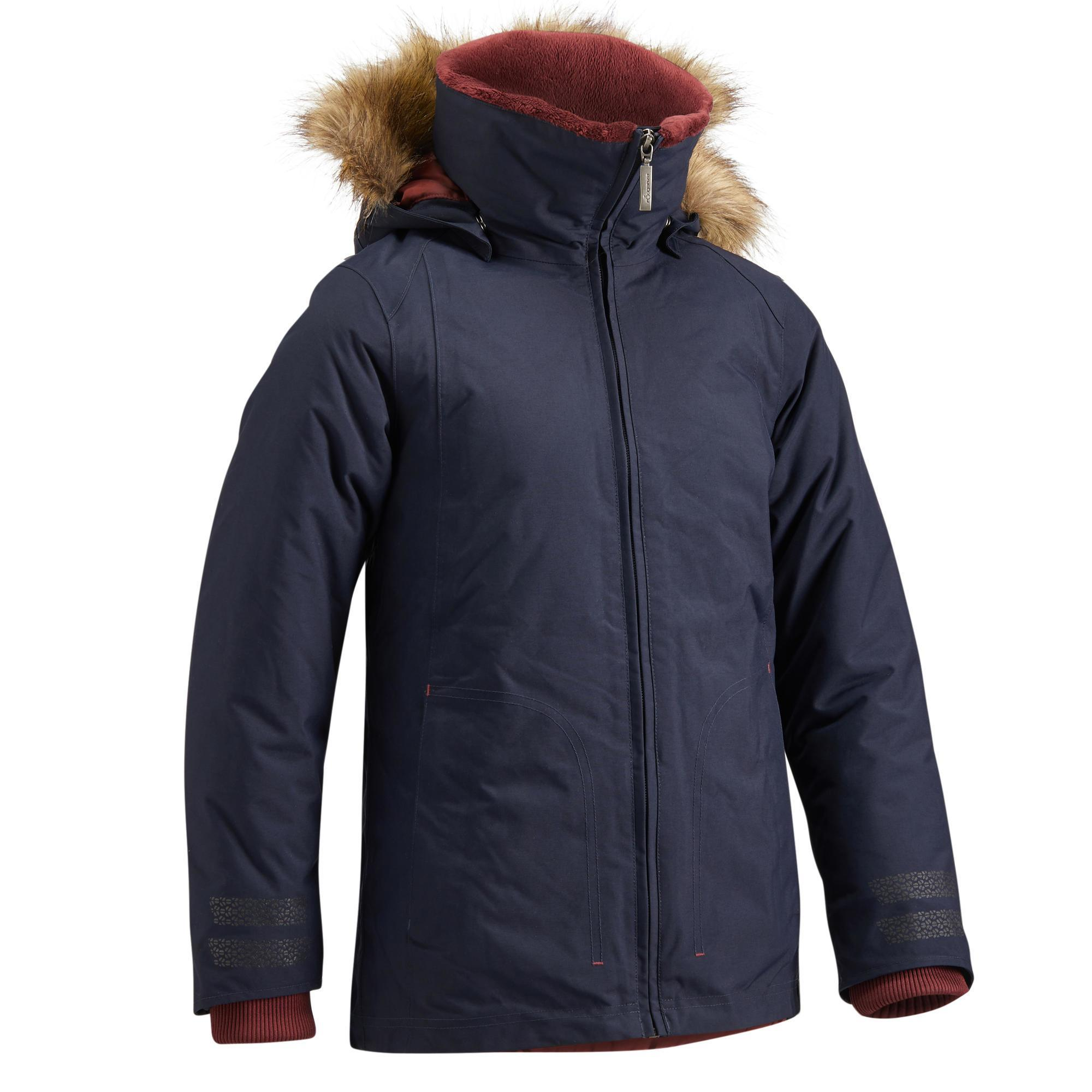 Jungen,Kinder Winter-Reitparka 500 Warm wasserdicht Kinder marineblau/bordeaux | 03583788091141