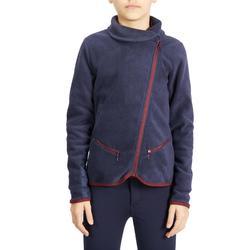 Fleece voor kinderen ruitersport 100 marineblauw/bordeaux