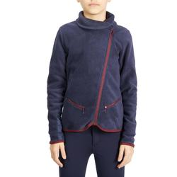 Reit-Fleecejacke 100 Kinder warm, marineblau/bordeaux