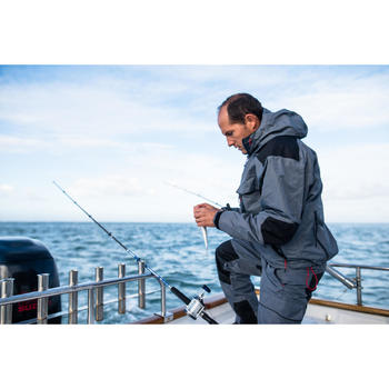 Chaqueta pesca impermeable-5 gris