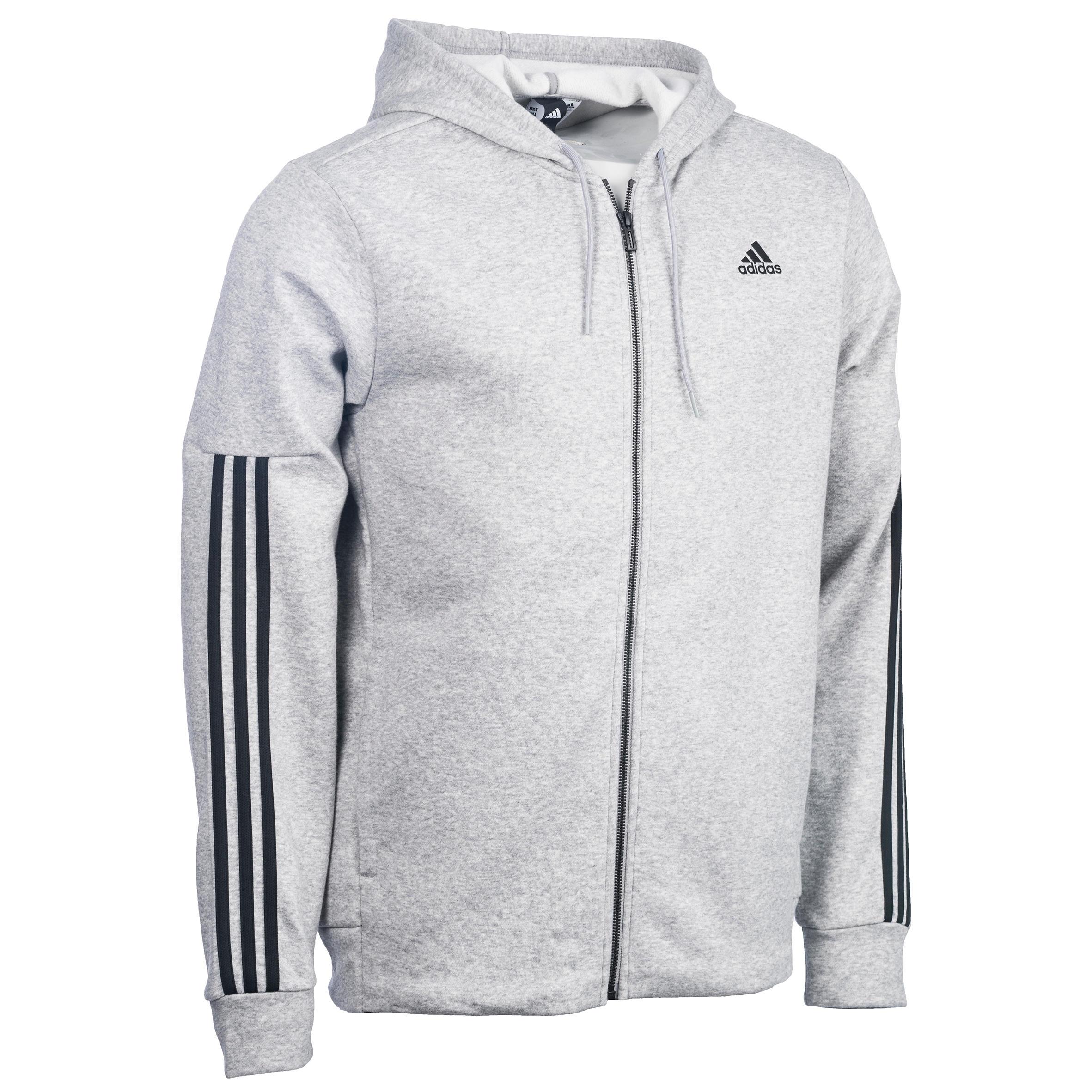 Adidas Heren hoodie met rits Adidas voor gym en pilates 3 strepen