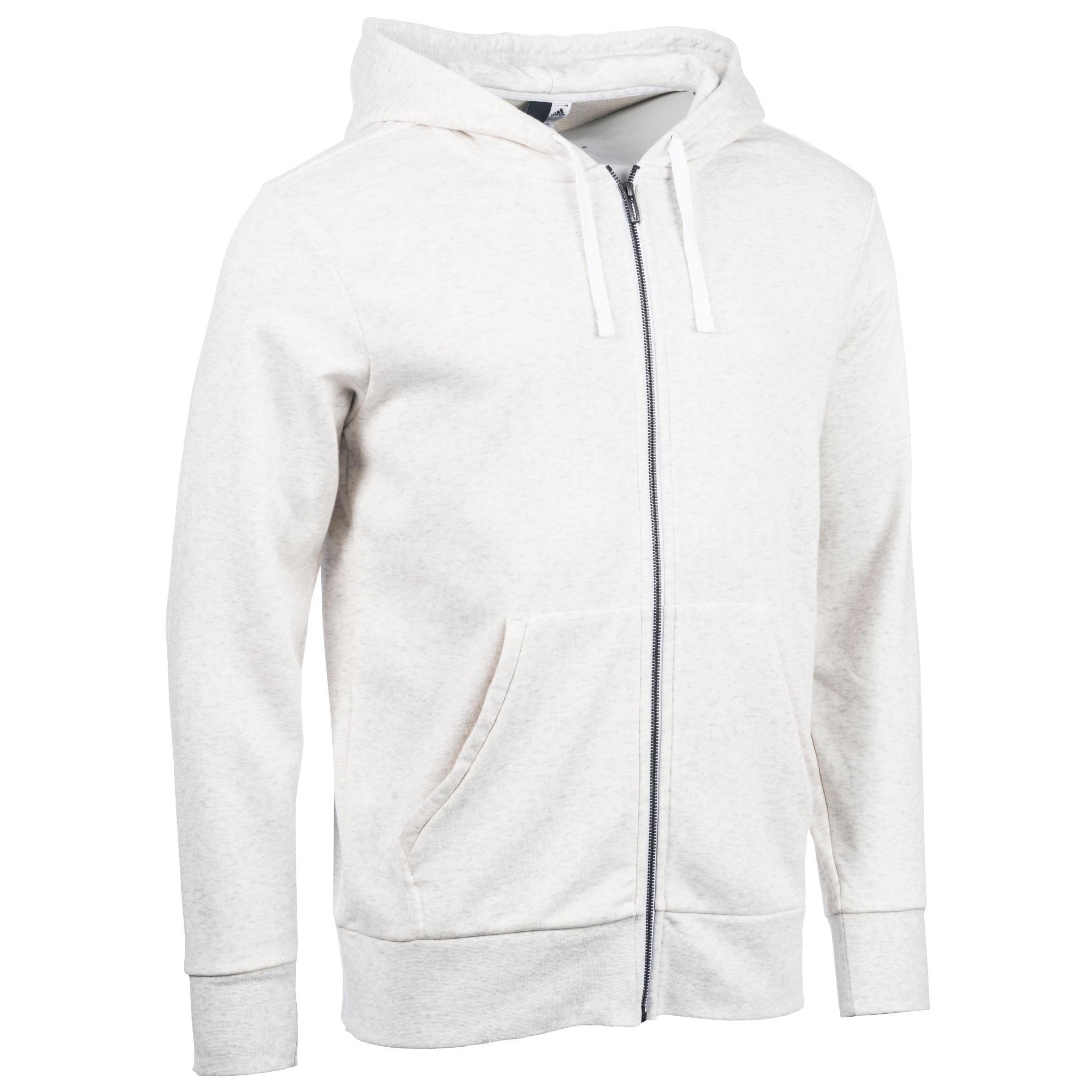 Adidas Hoodie met rits Adidas voor gym en pilates wit