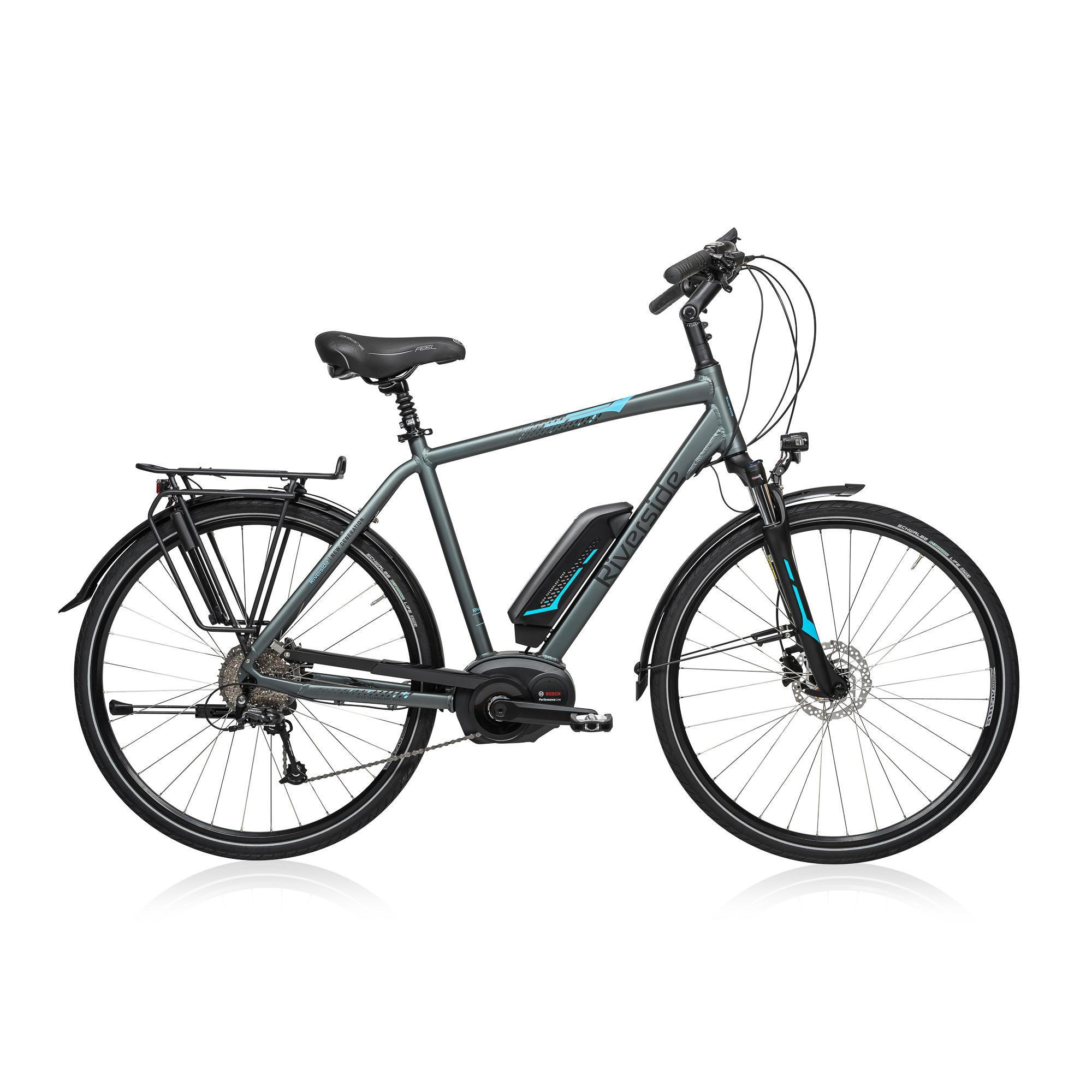 e bike 28 trekkingrad riverside 500 herren performance line 400wh grau blau riverside decathlon. Black Bedroom Furniture Sets. Home Design Ideas