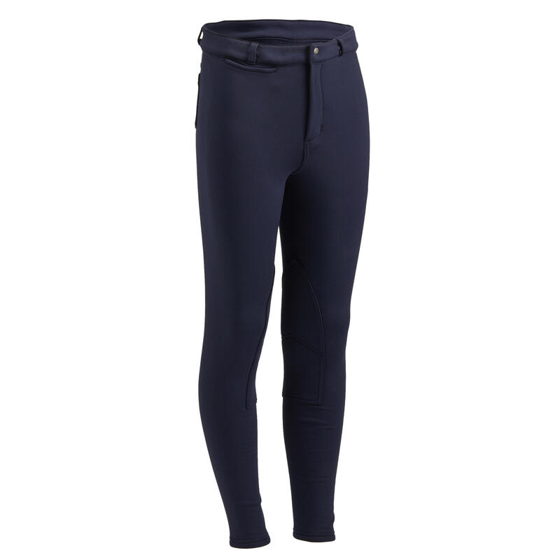 Pantalon călduros echitație 100 WARM bleumarin copii