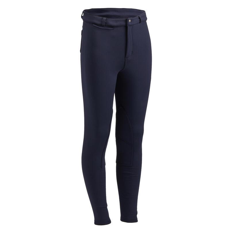 Pantaloni caldi equitazione 100 WARM bambino blu