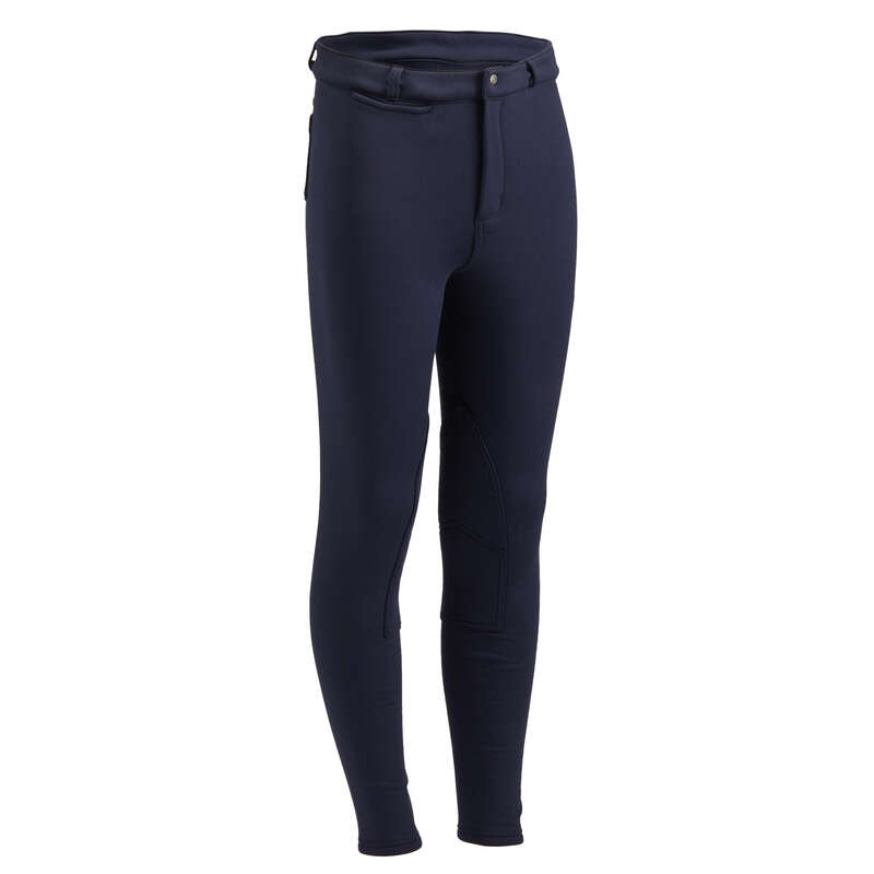 COLD WEATHER JR RIDINGWEAR Horse Riding - 100 Warm Jodhpurs - Navy FOUGANZA - Horse Riding Clothes