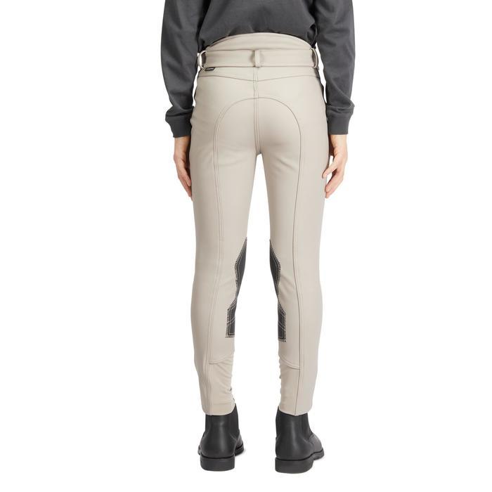 Pantalón cálido impermeable y transpirable equitación niño KIPWARM beige