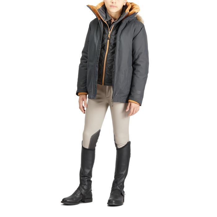 Pantalón Equitación Fouganza 500 Kipwarm Niño Beige Cálido Impermeable