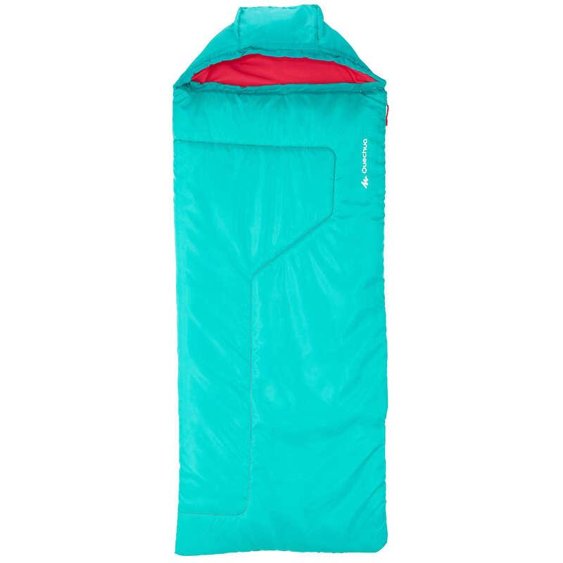 HIKING CAMP JUNIOR EQUIPMENT Camping - Forclaz 10° Children's Hiking Sleeping Bag - 2 Season, Green QUECHUA - Sleeping Equipment