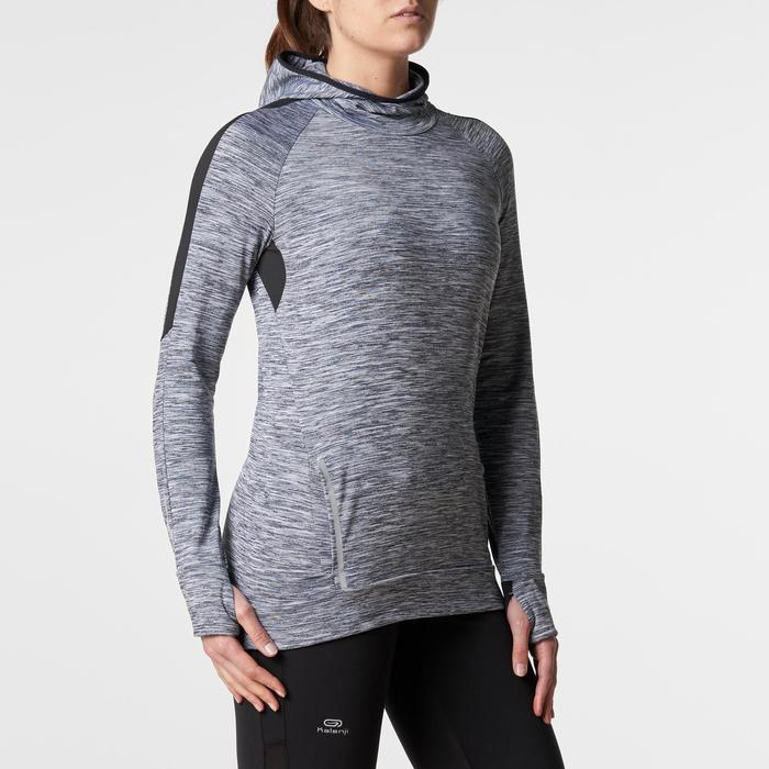 Run Warm Women's Running Long-Sleeved Jersey Hood - Mottled Grey  - 1345796