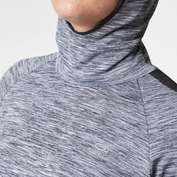 MAILLOT MANCHES LONGUES JOGGING FEMME RUN WARM HOOD GRIS CHINE