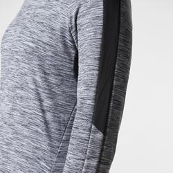 Hardloopshirt met lange mouwen voor dames Run Warm Hood gemêleerd grijs