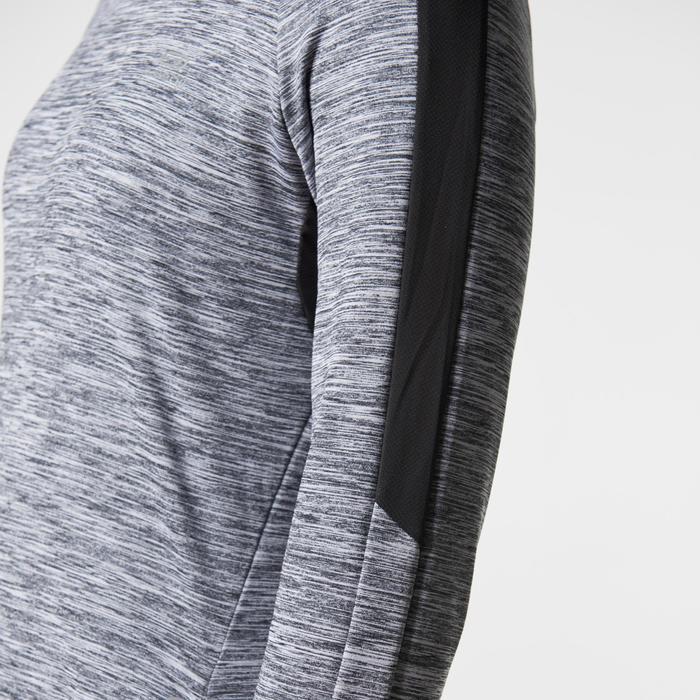 女款跑步長袖連帽衫RUN WARM - 斑駁灰色
