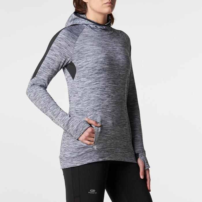 Run Warm Women's Running Long-Sleeved Jersey Hood - Mottled Grey  - 1345801