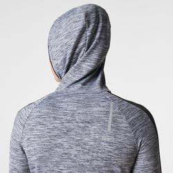 Langarmshirt Run Warm Kapuze Damen grau meliert