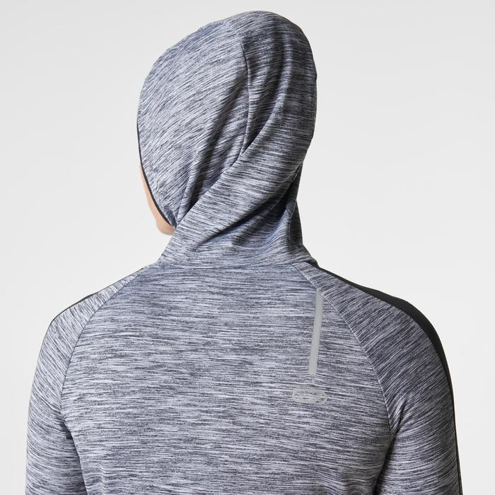 Run Warm Women's Running Long-Sleeved Jersey Hood - Mottled Grey  - 1345807