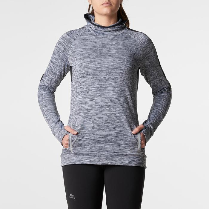 Run Warm Women's Running Long-Sleeved Jersey Hood - Mottled Grey  - 1345810